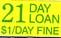 21 DAY LOAN $1/DAY FINE label roll(s) 7/8