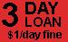 3 DAY LOAN $1 day fine label roll(s) fl red & black 1