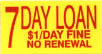 7 DAY LOAN_ $1/DAY FINE_ NO RENEWAL Label Roll(s) G. P. adhesive ylw/red, .625