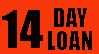 14 DAY LOAN $1/DAY FINE label roll(s) fluorescent red .75